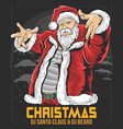 santa claus fat raper hip hop christmas party artw vector image