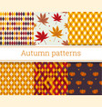 seamless autumn patterns set vector image