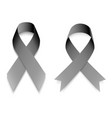 set realistic awareness ribbons in black color on vector image