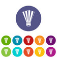 shuttlecock set icons vector image vector image