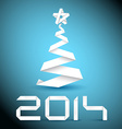 Simple christmas tree made from white paper stripe vector image vector image