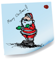 sketch drawing of Santa claus on sticky paper vector image vector image