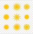 sun or star cartoon yellow flat icons set vector image