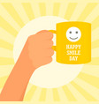 sunny smile day concept background flat style vector image vector image