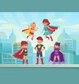 superhero kids team comic hero kid in super vector image vector image