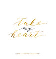 take my heart gold text isolated vector image vector image