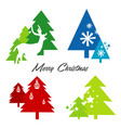 tree merry christmas deer snowflake icon vector image vector image