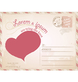 Vintage postcard wedding invitation vector image vector image