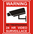 warning sticker for security alarm cctv camera vector image vector image