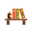 wooden shelf in laboratory with science literature vector image