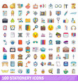 100 stationery icons set cartoon style vector image vector image