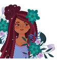 afro american woman cartoon with flowers vector image vector image