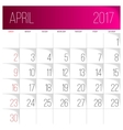 April 2017 calendar template vector image vector image