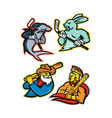 baseball and ice hockey team mascots collection vector image