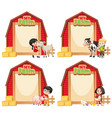 border template design with children and farm vector image vector image