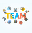 cartoon team concept card poster vector image vector image