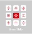 christmas snowflakes icon set vector image