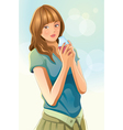cute girl drinking juice vector image vector image