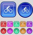 Cyclist icon sign A set of twelve vintage buttons vector image vector image