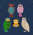 doodle boho style hand drawing cartoon cute owls vector image
