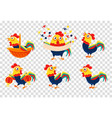 flat set colorful roosters farm bird vector image