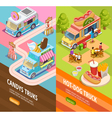 Food Trucks 2 Vertical Isometric banners vector image vector image