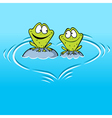 frogs in love sitting on a stone in water vector image vector image