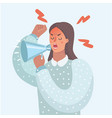 funny of woman with megaphone vector image