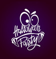halloween night party monster hand lettering with vector image vector image