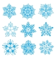 hand-drawn snowflakes silhouettes isolated vector image