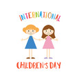 happy childrens day greeting card with girls vector image