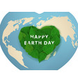 happy earth day card green leaves in heart shape vector image