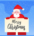 happy santa claus holding signboard with merry vector image