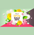 Hello spring sale background with flower