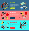 home repair banner horizontal set isometric view vector image