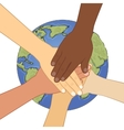 Human hands together over earth vector image