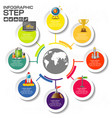 infographic with business icons 8 circles steps vector image vector image