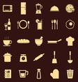 Kitchen color icons on dark background vector image vector image