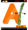 Letter a with asparagus cartoon