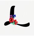 letter l watercolor floral background