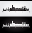 malmo skyline and landmarks silhouette vector image vector image