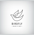 one line bird logo flying silhouette vector image vector image