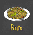 pasta on plate engraving color vector image