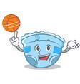 playing basketball baby diaper character cartoon vector image vector image