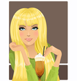 Portrait of beautiful girl with cocktail vector image