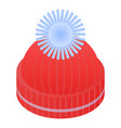red winter hat icon isometric style vector image vector image