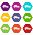 retro car icon set color hexahedron vector image vector image