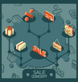 sale color concept isometric icons vector image vector image