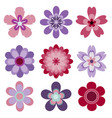 set of 9 abstract isolated flowers vector image vector image