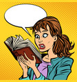 shocked girl reading a book vector image vector image